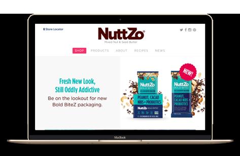 NuttZo website on a laptop